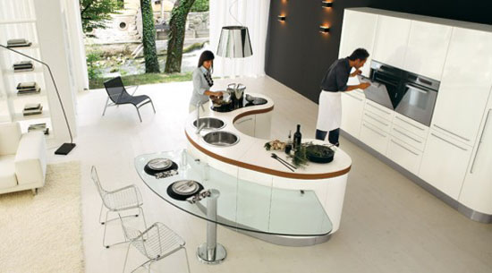 Curved Kitchen Island with Transparent glass tables from Record Cucine