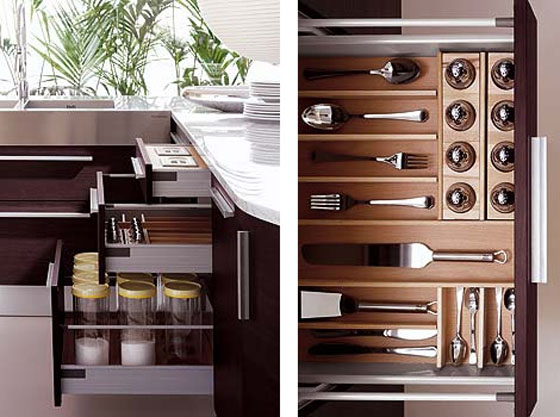 Italiano contemporary Kitchen combination of curves and straight line use oak veneer