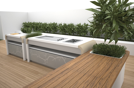 Outdoors Kitchen surrounded by trees and under an open sky by Electrolux