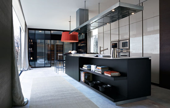 Smooth linear functional kitchen with vertical full height cabinets and floating island