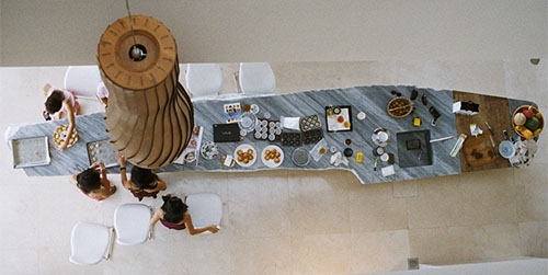 Solid Stone rocky Luxury kitchen island by French architect perfected the modern culinary space