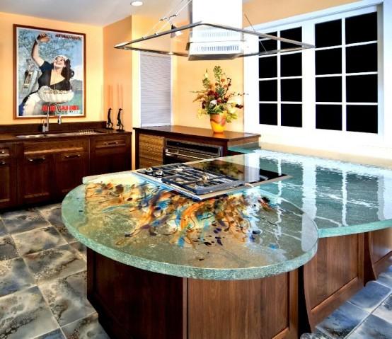 ThinkGlass created personalize kitchen use glass kitchen countertops beautiful patterns