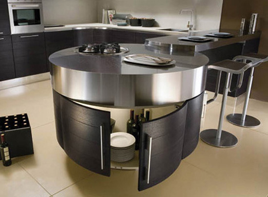Ultra modernpurple kitchen with cylindrical fanabove stovetop