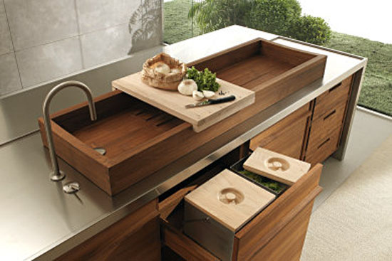 Water resistant kitchen with classics recessed sink or a fabulous teak sink