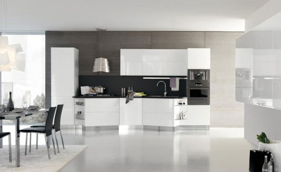 White Cabinets in Modern Italian Kitchen Design from Stosa