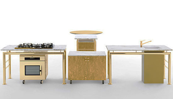 autonomous modular kitchen parts surrounded by rectangular worktop and contrasted by circular table