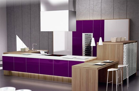 beautiful combination of purple and natural wood kitchens looks very chic and very useful by Spazzi