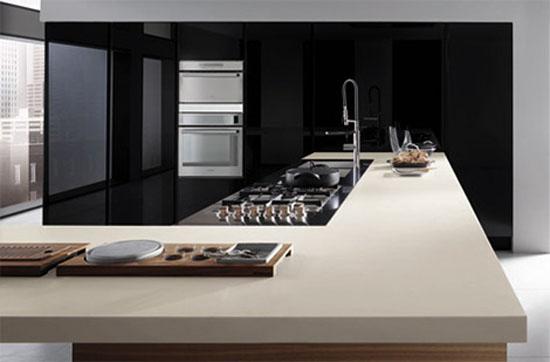 bisque kitchen countertop peninsula extends into useful breakfast island by Ernestomeda