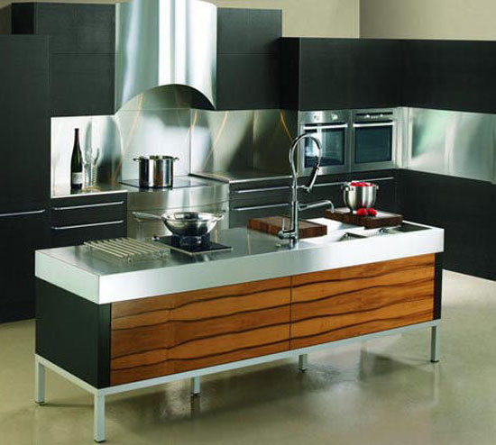 black cabinets accented with wood grain and island panels of lush American apple