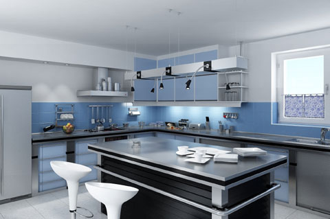 black kitchen island contrast to white and pale blue walls