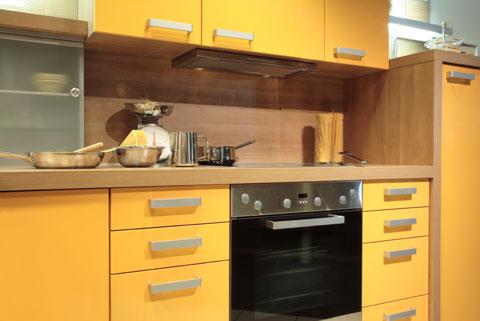 bold yellow color scheme as european tone of modern kitchen design