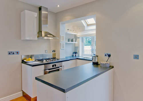cantilevered bay window for white kitchen