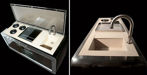 compact kitchens comes wrapped in a modern metal for contemporary homes by Jcorradi