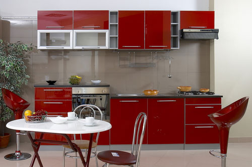 contemporary small kitchen design of red color