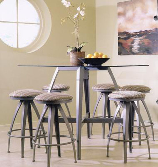 counter height pub table and bar stool in modern kitchen interior renovation