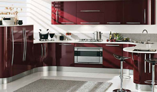 curved kitchens island with custom cabinetry gives ergonomic kitchens design