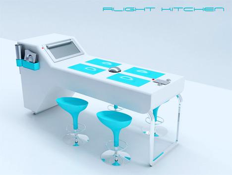 ergonomic design kitchen concept with a bright blue color style