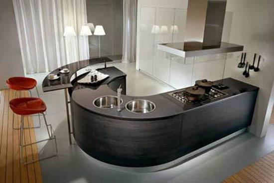 ergonomic kitchen design like J shape has dramatic contrasts color for international market