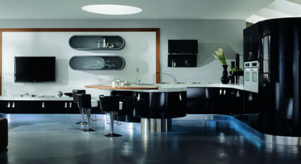 help your apartments with curved kitchens cabinets built-in lights