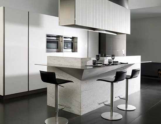 high-tech Corian Kitchen systems with remote control from Gamadecor