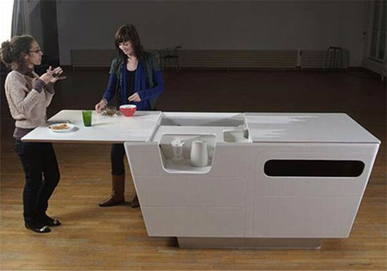 mini kitchen island for condo or small apartments with minimalist style
