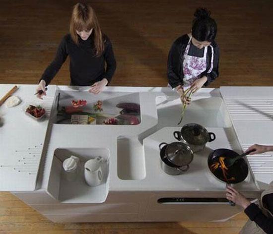 mini kitchen island for condo or smalls apartment with minimalist style