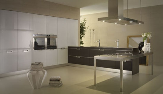 neutral tones kitchens Contrasting glossy white and matt black pantry from Salvarani