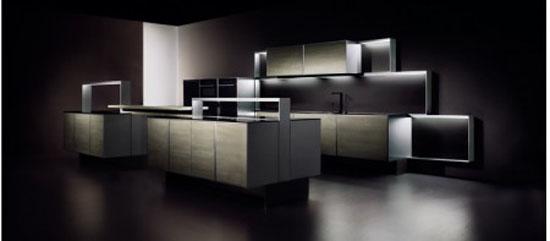 premium materials black granite and brushed aluminum Kitchen Porsche design with sleek design