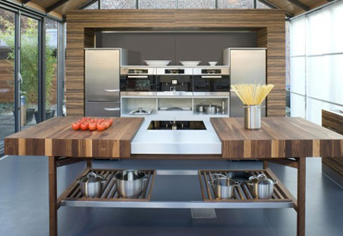 solid wood kitchens island slides open with powerful magnetic field by Schulte Grace German