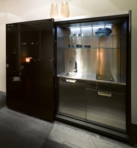 studio kitchens ideas for small spaces stylish storage space with sliding doors by Fendi Casa 8.7.10