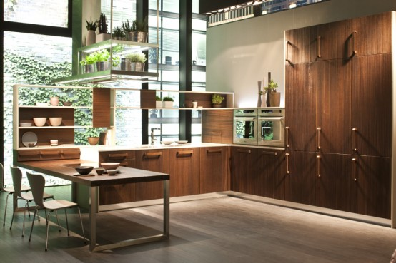 thermally treated oak makes kitchen looks natural and contemporary