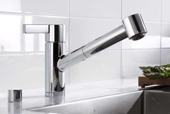 1. unique sleek and shiny silver color kitchen faucet from Dornbracht Eno