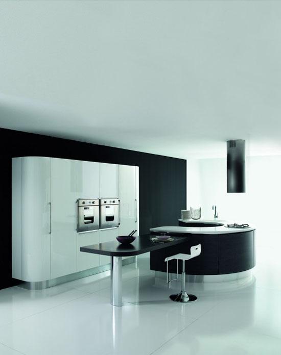 white dark brown and black Rounded kitchens island designs By Aran Cucine