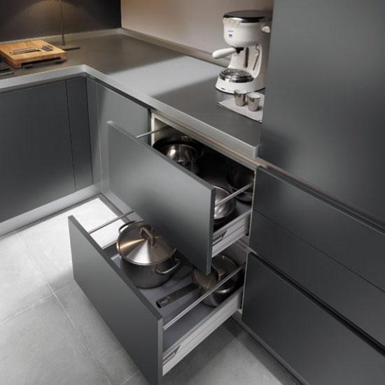 white grey and black modern Kitchen designs picture by Ernestomeda